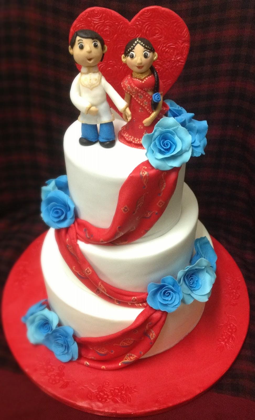 Mnd Wedding Cakes Red Blue Indian Engagement Cake
