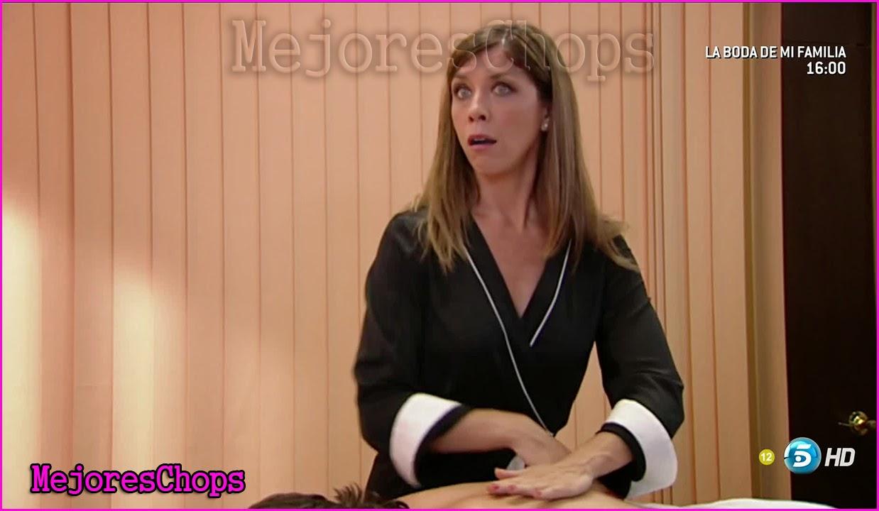 ... actriz de la serie La que se avecina, Eva Isanta con ropa de masajista
