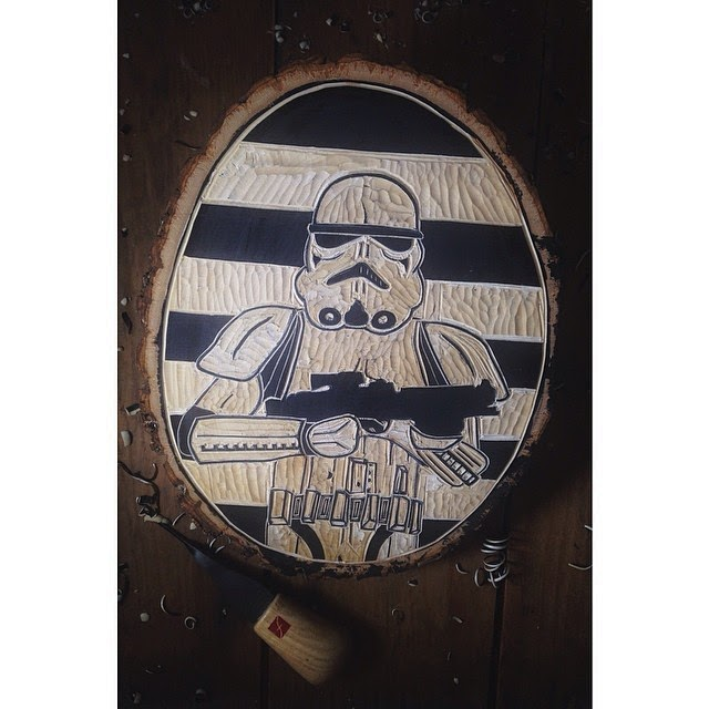 Hand made wood cuts of Star Wars characters