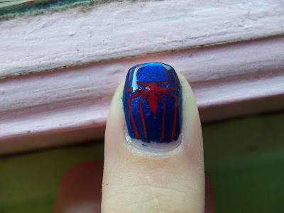 Spider-man nail art by megsmanicures.blogspot.com