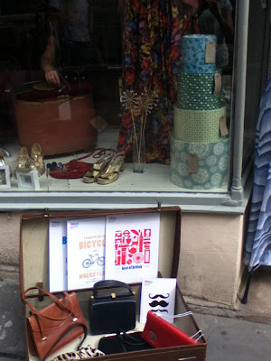 My products in the window of and in front of Poot emporium in Forme