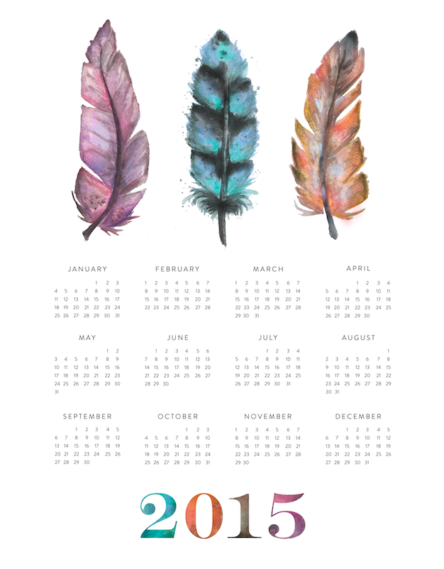 Feather Calendar 2015 by The Blog Guidebook