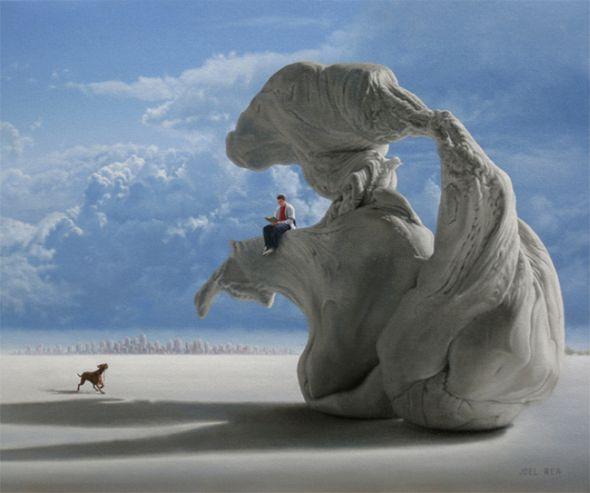 Joel Rea pintura hiper-realista surreal cães gigantes caindo céu Monumento para mim mesmo