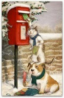 Picture of cat and dog mailing letter