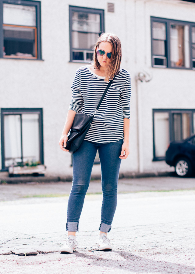 In My Dreams, personal style and fashion blogger wearing classic stripes and converse.