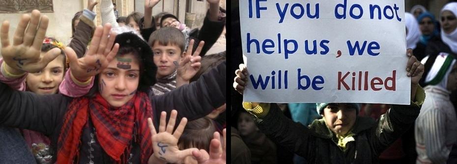Niñas y niños pidiendo auxilio al mundo... (sin respuesta.) Al-Qsair, a 25 km. de Homs (Siria) 2012