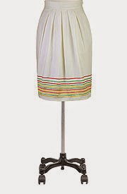 Embellished stripe hem skirt