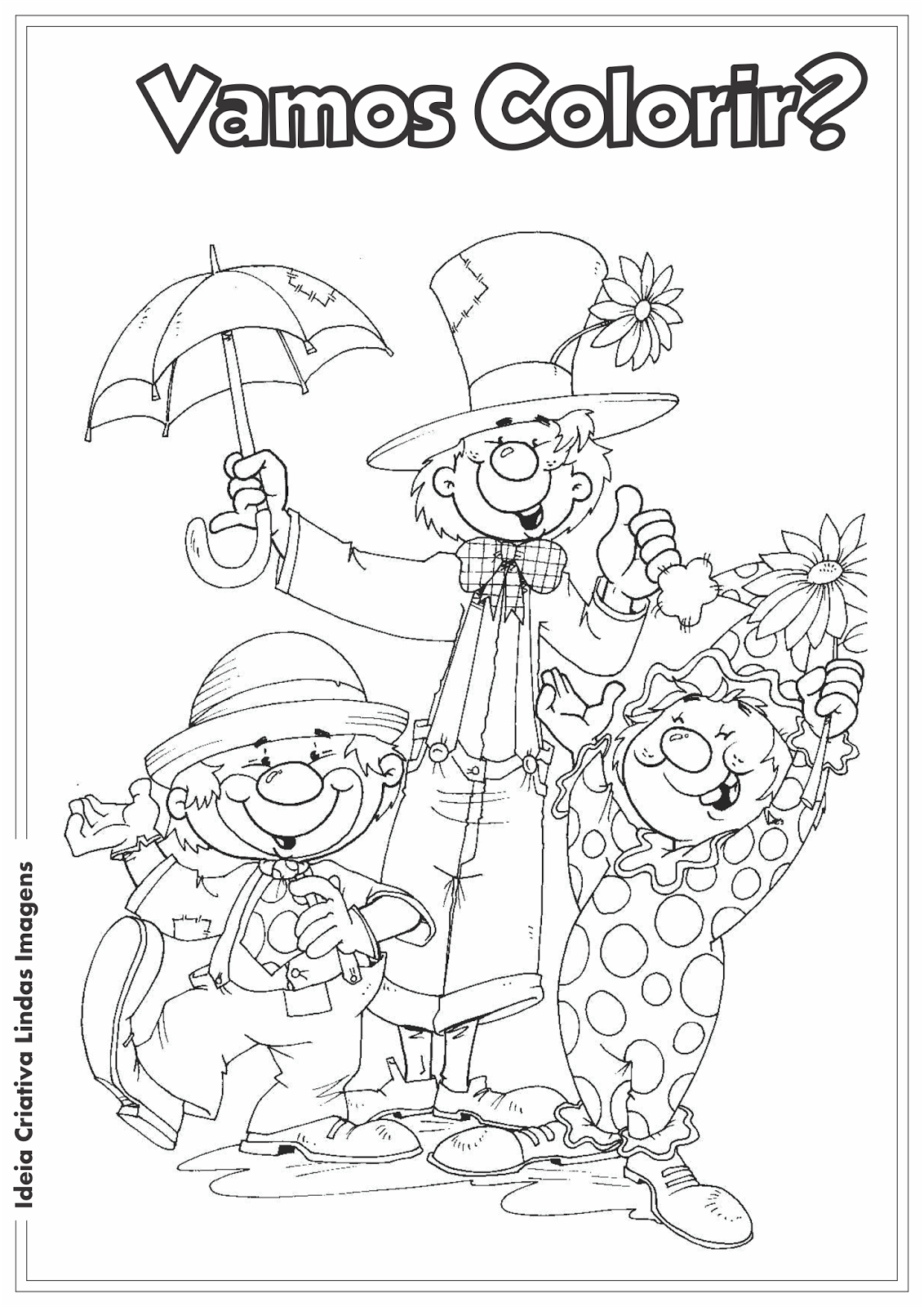 Dia do Circo - Palhaços desenho para colorir
