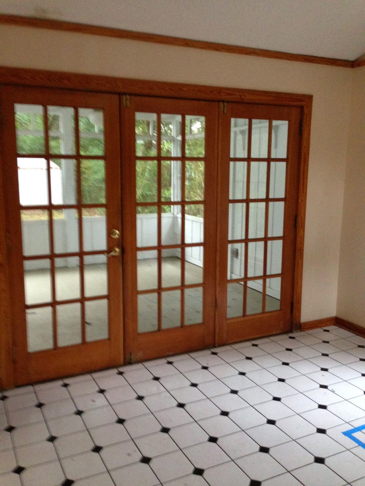 This Black And White Flooring Was The Original Dining Room Floor A Screened Porch Off Later Became My Office