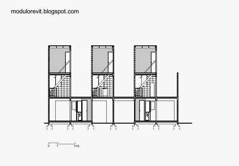 Plano de arquitectura corte vertical Proyecto Elemental Chile