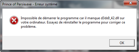 والتي انه لا يمكن تشغيل البرنامج وذلك
