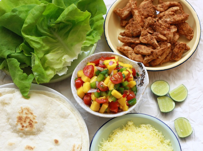 fresh ingredients for making fajitas and tacos at home