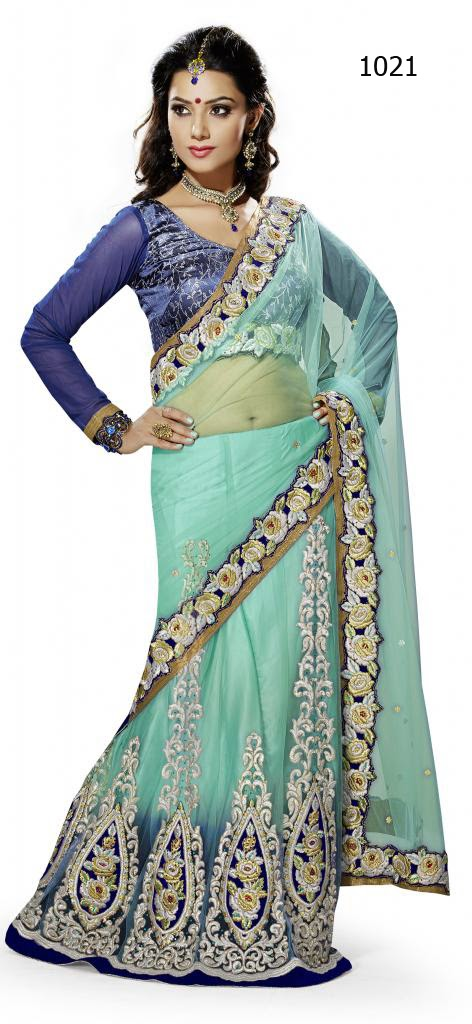 Letest Lengha type Saree-Online Shopping, Exclusive Designer Embroideries Resham Work Saree in Bangalore