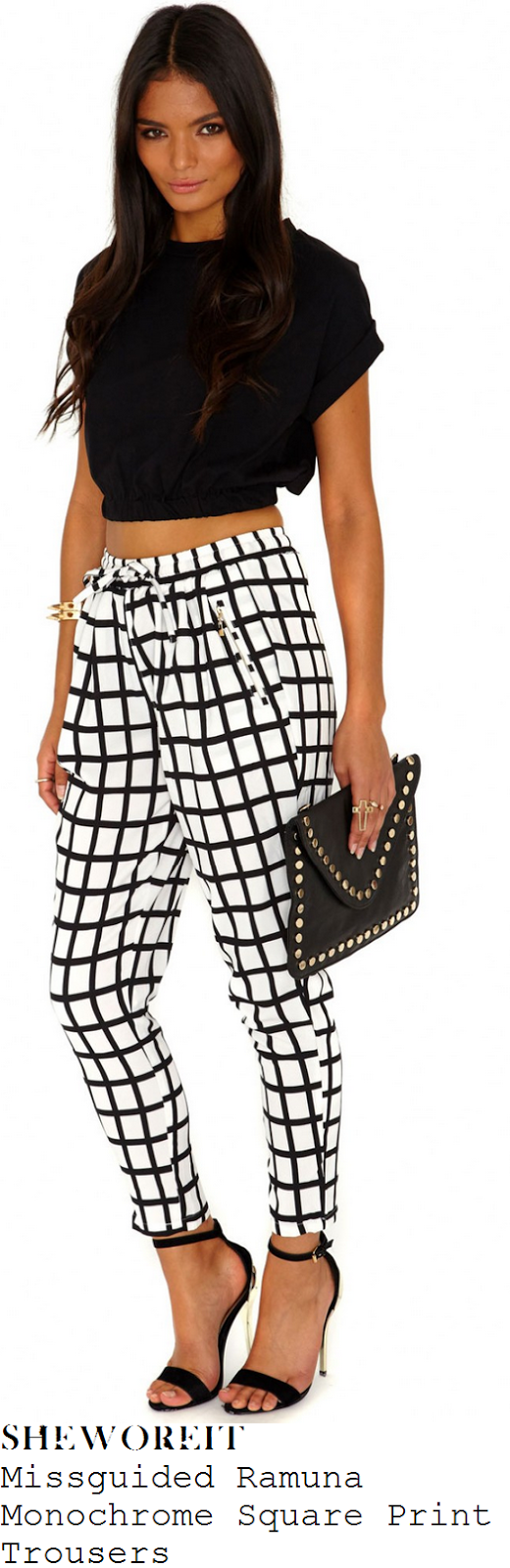 perrie-edwards-black-and-white-monochrome-square-check-print-trousers-children-in-need