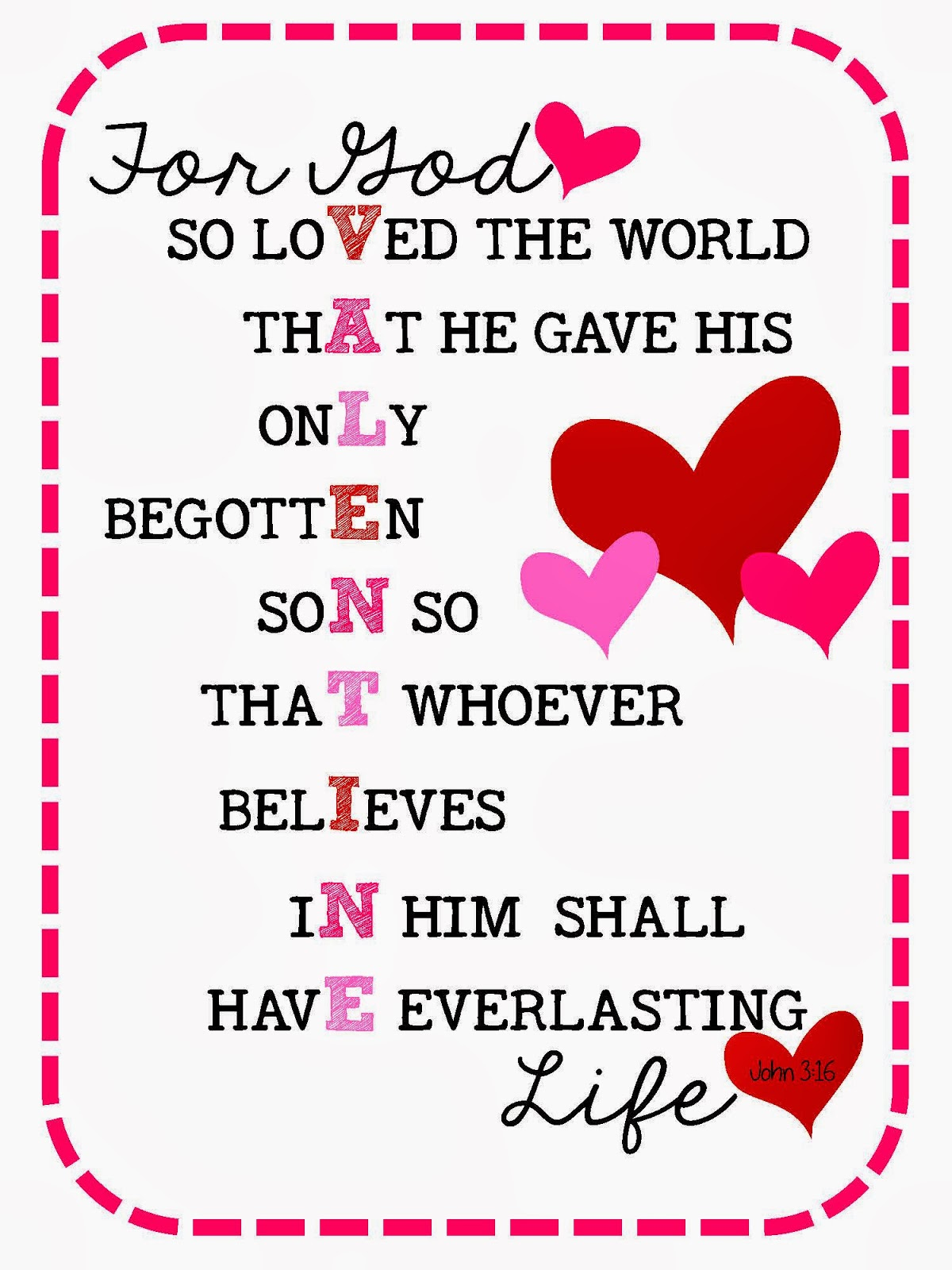 Valentine bookmark to color - John 3 16 Valentines