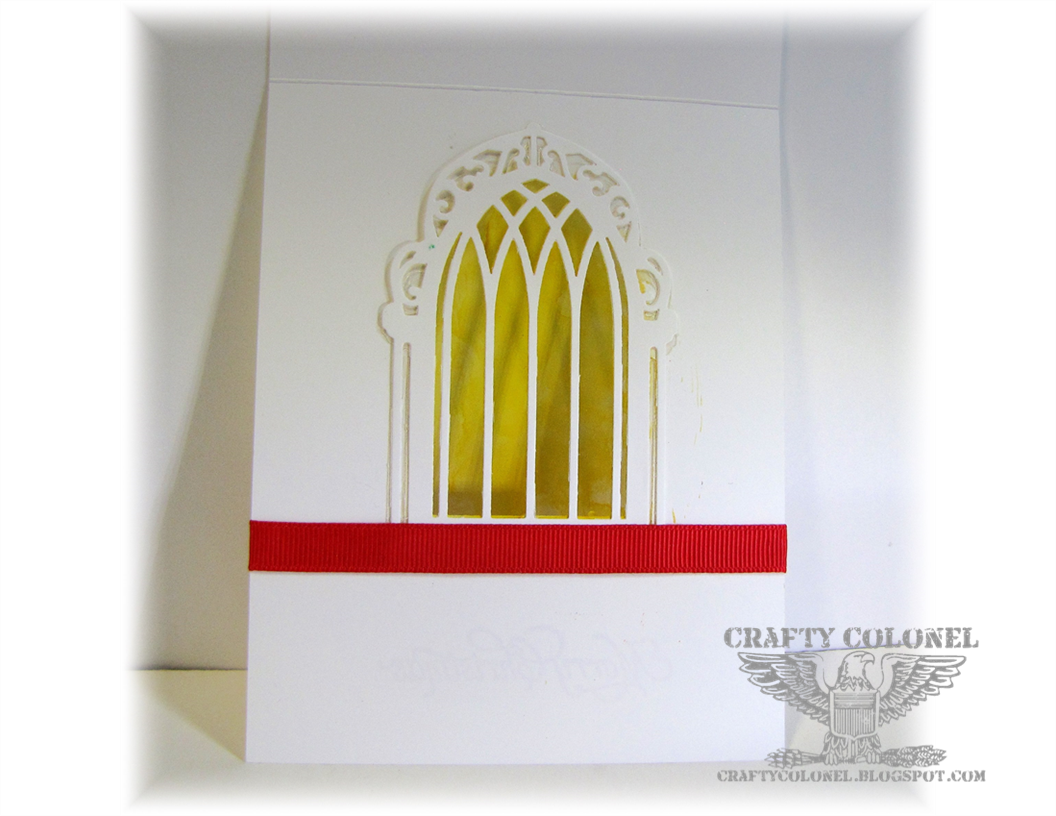 Crafty Colonel for CASE-ing Christmas Challenge Blog, Inside of card, Spellbinders, Really Reasonable Ribbon