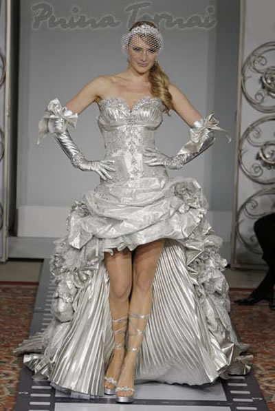 The characteristic work of pnina tornai wedding dress for Silver dress for wedding