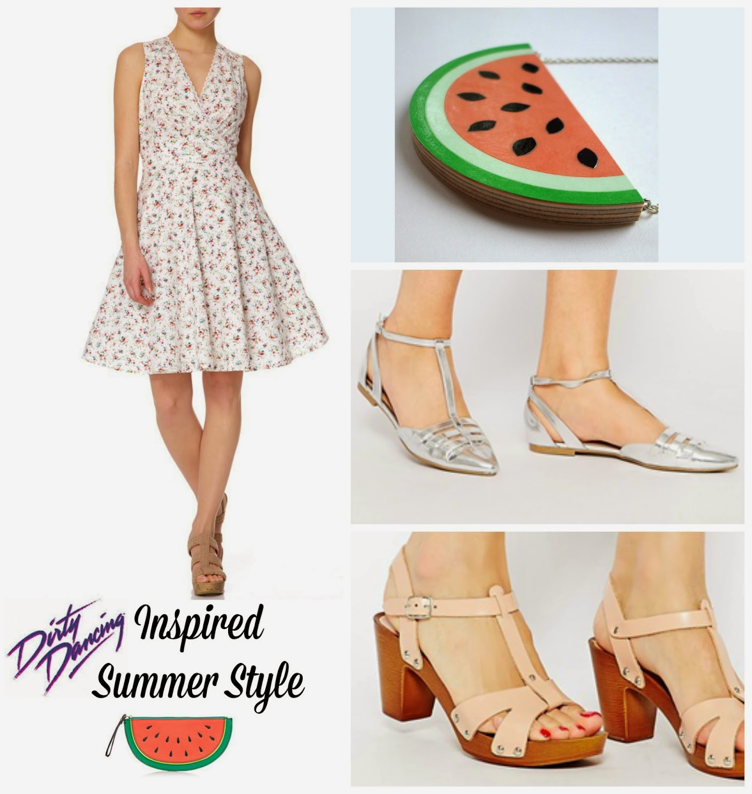 Dirty Dancing Style  Fashion Fever Dress Watermelon Necklace ASOS T Bar Shoes Watermelon Clutch