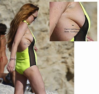 Lindsay Lohan saggy sideboob side boob