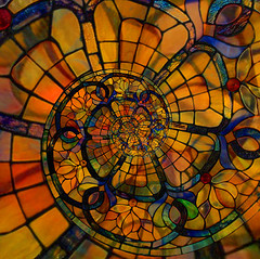 Spiralling stained glass image