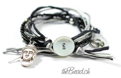 Hippie Armband aus Seidenbändern und Perlen