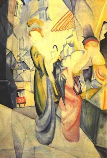 August Macke, Femmes claires devant une boutique de chapeaux, 1913