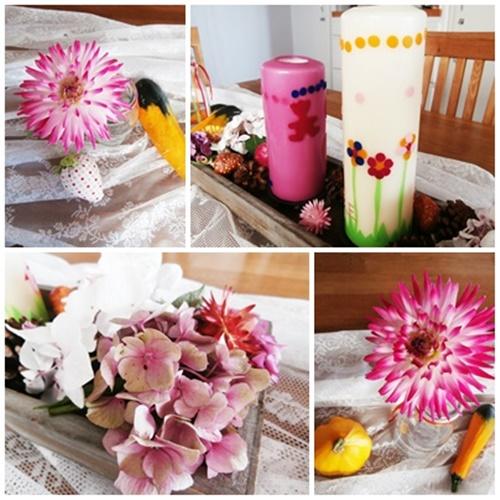 Tischdekoration mit Blumen und Kerzen DIY