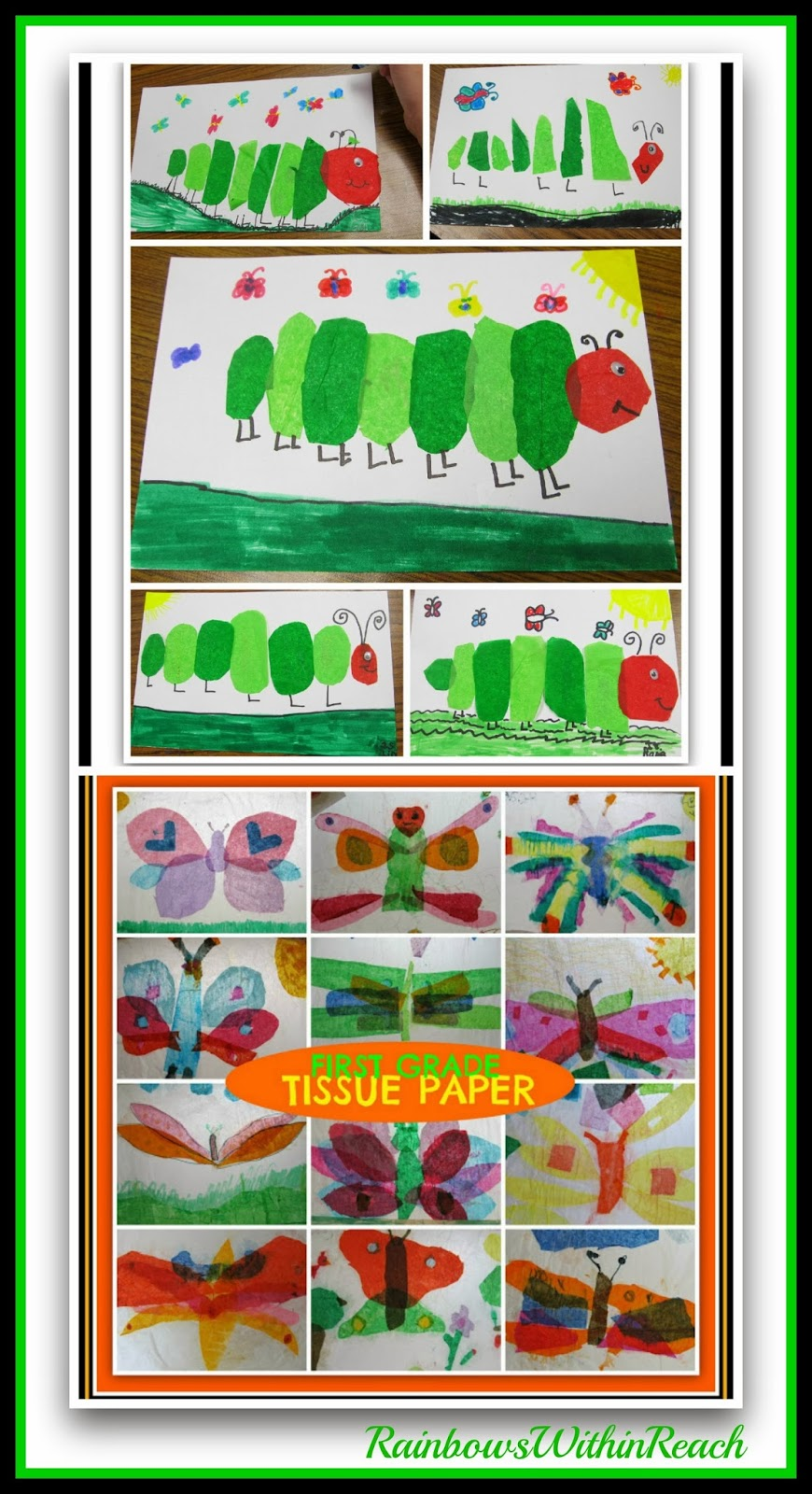 Tissue Paper Children's Art (Eric Carle style) via RainbowsWithinReach