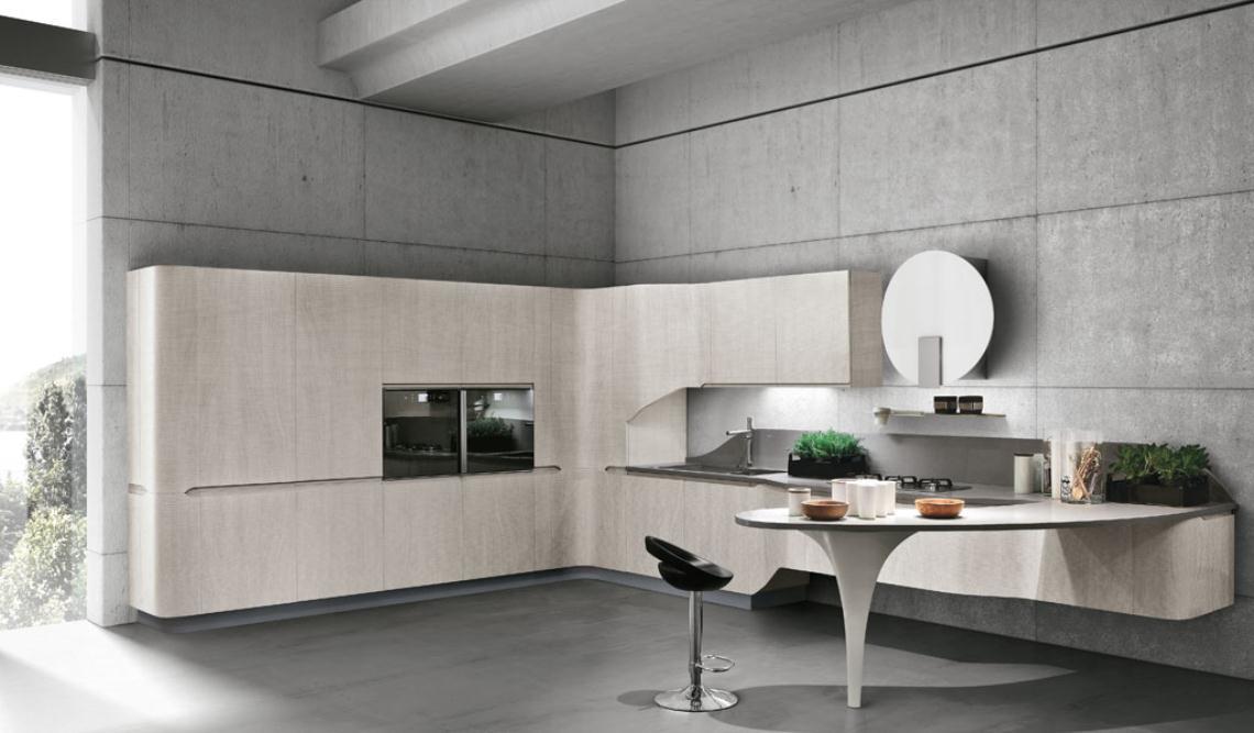 Muebles de cocina de bordes curvos y ondulantes cocinas for Cocinas en linea recta