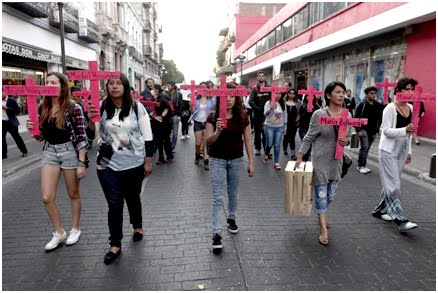 La protesta contra los feminicidios en Puebla
