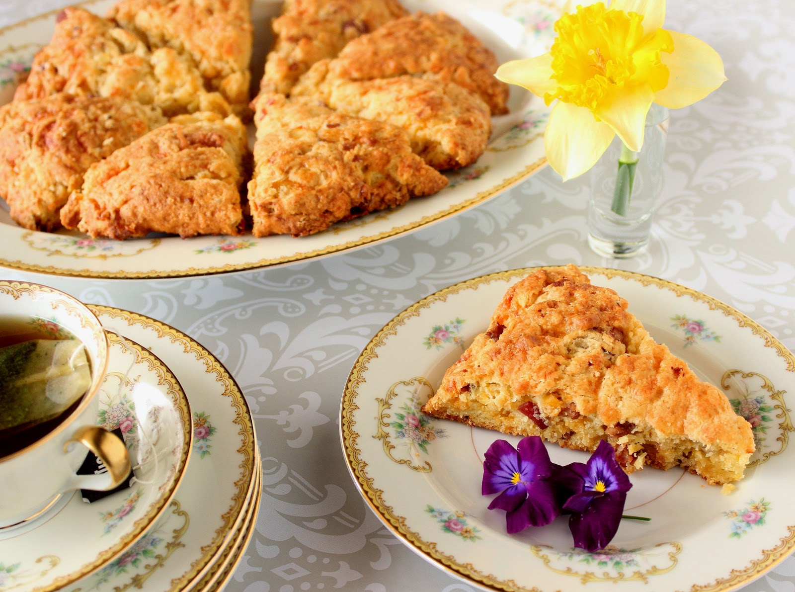 Cheddar Scallion Scones With Jalapeno Agave Butter Recipe — Dishmaps
