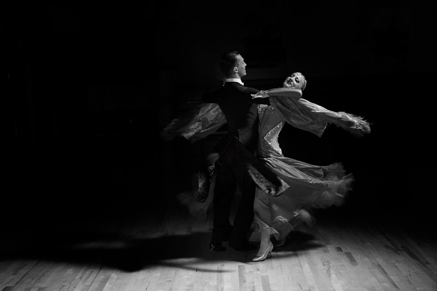 Igor Colac and Roxane Milotti black and white Ballroom Dance Portrait