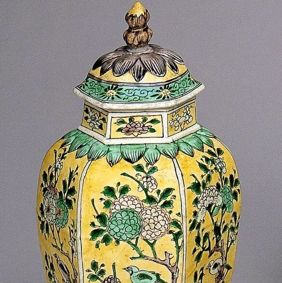 "<img src=""Kangxi Covered Jar .jpg"" alt="" Famille Jaune on Biscuit"">"