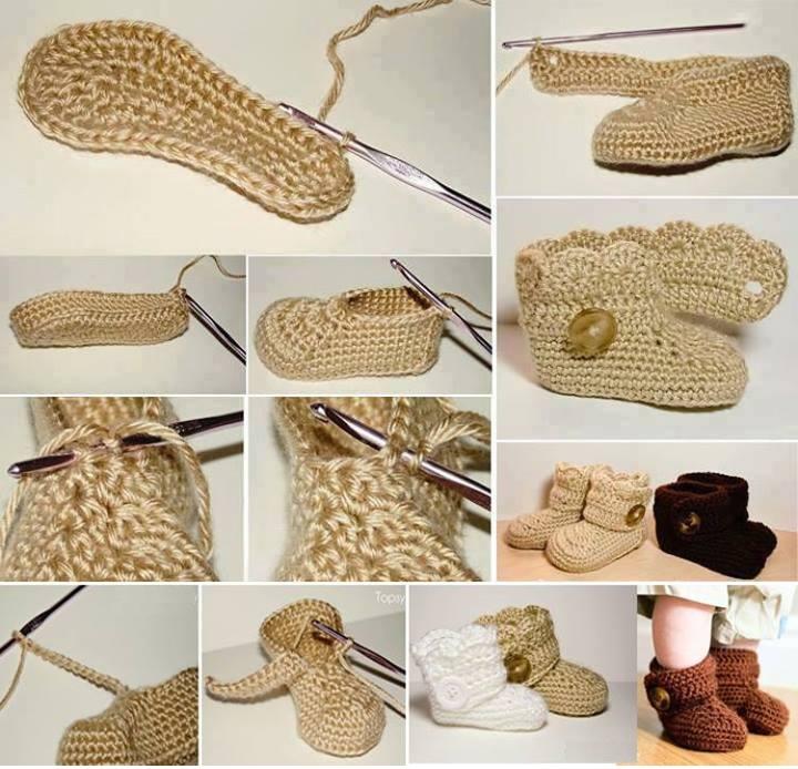 Crochet Tutorial Zapatitos Bebe Escarpines : Botitas de Crochet para Bebe Paso a Paso - Patrones Crochet