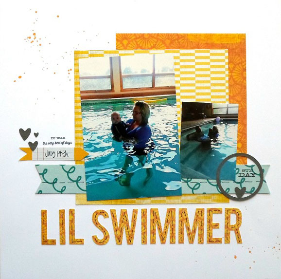 Swimming Scrapbook Layout