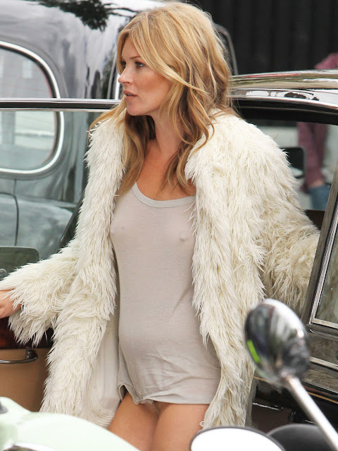 Kate Moss Braless, Pantyless And Only Wearing A See Through Shirt Candids In London