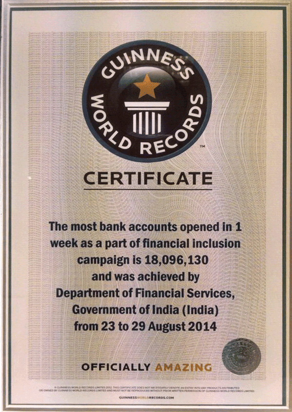 Guinness Certificate - PMJDY