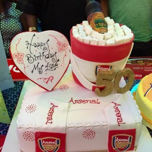 Mercy-Aigbe-presents-Alomo-Bitters-Arsenal-Cake-to-Husband-on-birthday-Pictures