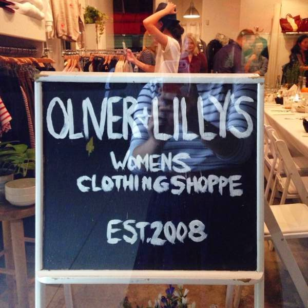 Storefront sign at Vancouver boutique Oliver + Lilly's (est. 2008)