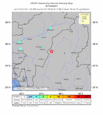 Epicentro sismo 5,9 grados, frontera India-Myanmar, 09 de Enero 2013