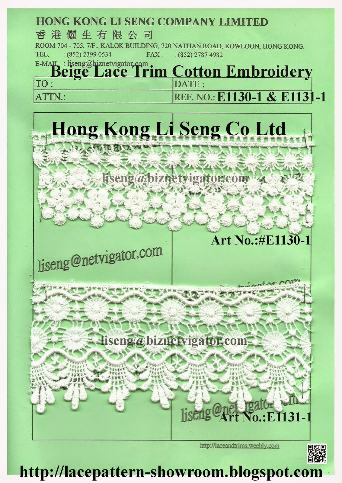 Beige Lace Trim Cotton Embroidery Manufacturer - Hong Kong Li Seng Co Ltd