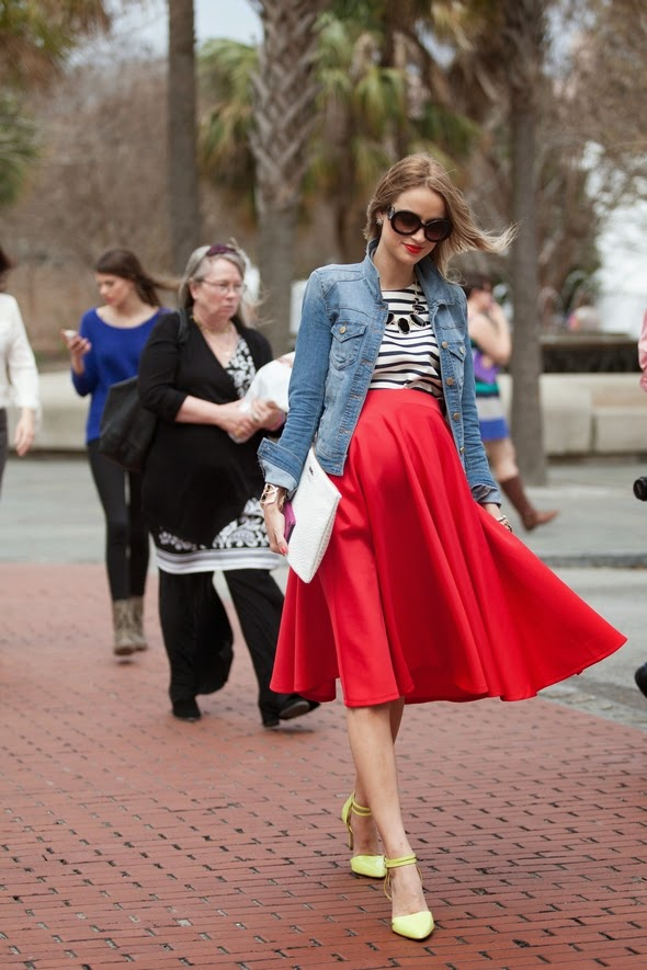 pregant style womens maternity yellow shoes red skirt jean jacket big sunglasses charleston southern street style
