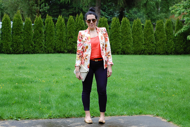 Zara floral blazer, J.Crew city pants, Joe Fresh silk pajama tank, Tory Burch Reva flats and a gold Gap clutch