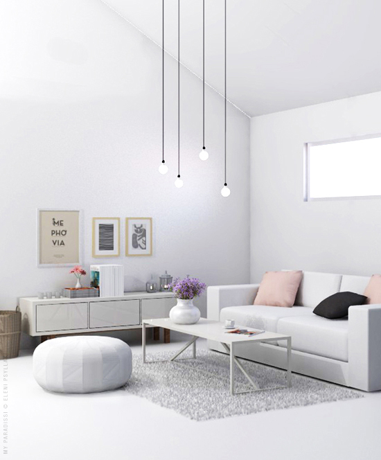 White Living Room Visualization My Paradissi