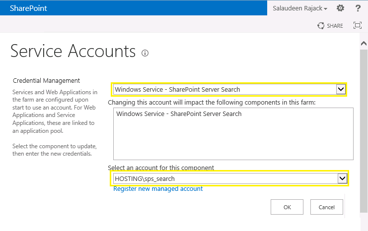 sharepoint 2013 change farm service account
