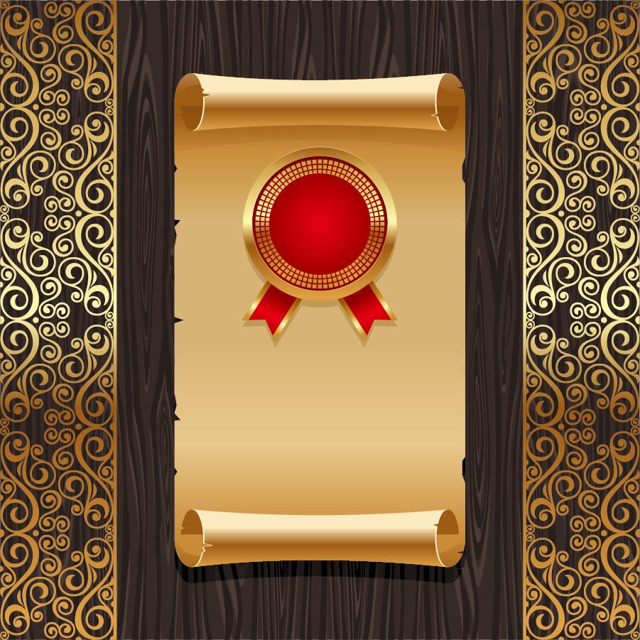 豪華に金色の巻紙をあしらった背景 golden background pattern vector old paper board イラスト素材