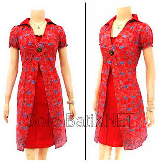 DB2971 Model Baju Dress Batik Modern Terbaru 2013
