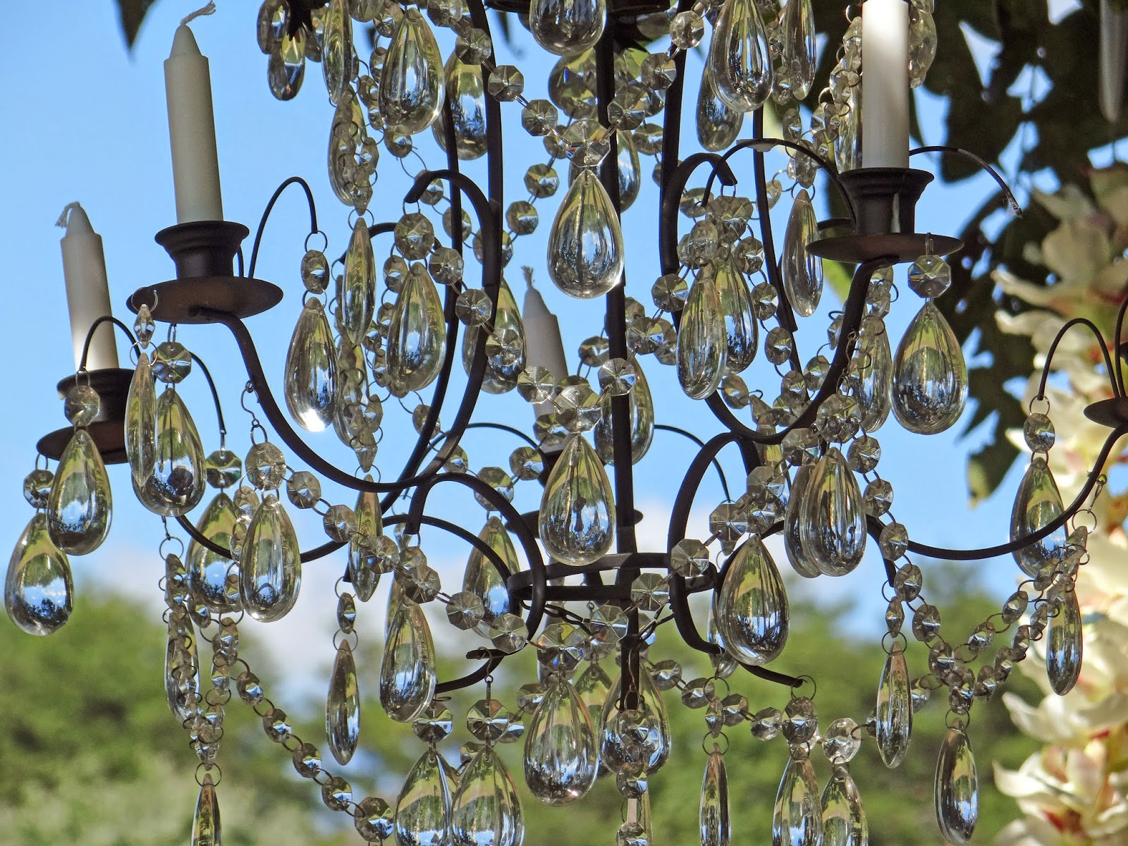 chandelier outdoor wedding