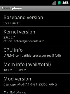 CyanogenMod 7 for Galaxy Y