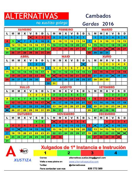 Cambados. Calendario gardas 2016